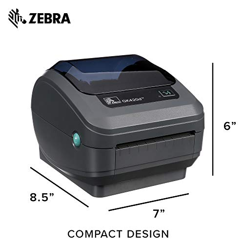 Zebra - GK420d Direct Thermal Desktop Printer for Labels, Receipts, Barcodes, Tags, and Wrist Bands - Print Width of 4 in - USB, Serial, and Parallel Port Connectivity - GK42-202510-000