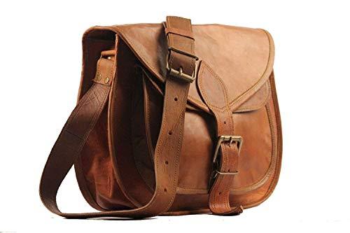 ALASKA EXPORTS Women's Real Leather Shoulder Cross Body Satchel Saddle Tablet Retro Rustic Vintage Bag (9 X 11 3.5 inch) (9 X 11 X 3.5 inch)