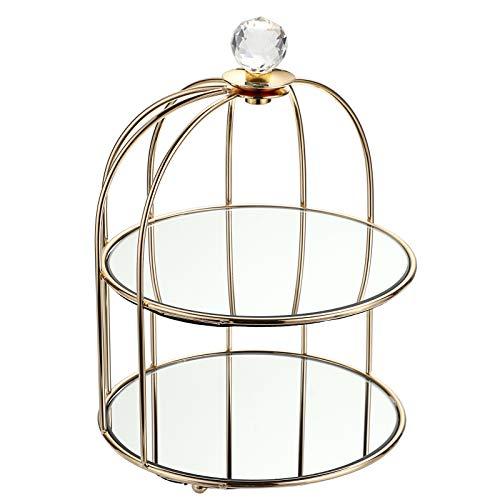 BSTKEY - Vassoio a specchio a 2 ripiani, per cosmetici, cosmetici, gioielli, a forma di gabbia per uccelli, colore: oro