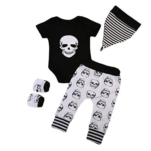 Vicbovo Baby Boy Girl 2018 - Conjunto de Ropa de Halloween con Estampado de Calavera, Pantalones, Sombrero y Guantes, Negro, 18-24 Meses