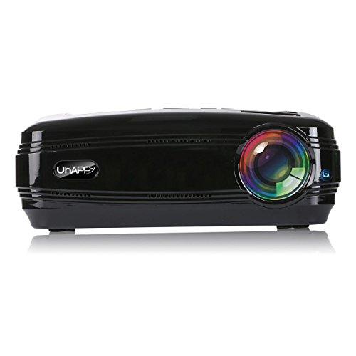 GAOHAILONG UHAPPY Zuhause HD Beamer 3200 Lumen 1080P 20000 Stunden LED-Leben LED Büro Dia-Projektor, Black