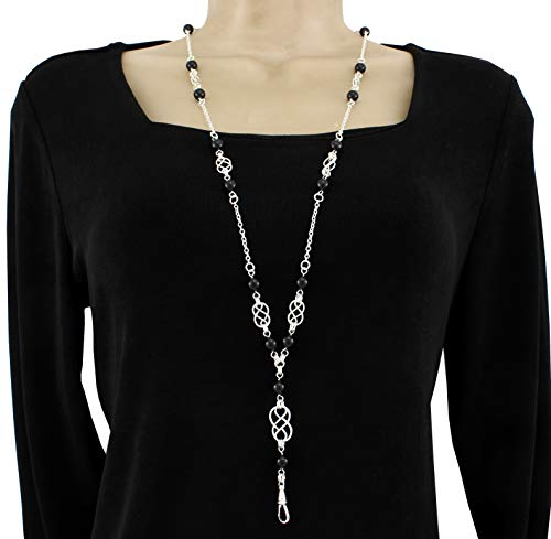 Brenda Elaine Jewelry Silver Plated Women's Fashion Lanyard Necklace ID Badge Holder, 32 Inch Silver Chain with Silver Celtic Knots and Black Pearls & Rear Lobster Clasp