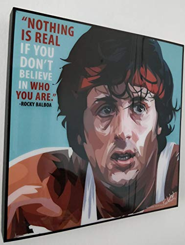 GLAGOODS Rocky Balboa Italian Stallion Sylvester Stalone Movie Creed Boxer Fighter Fight Combat Sports Pop Art Canvas Poster in Vinile con Citazioni Regalo