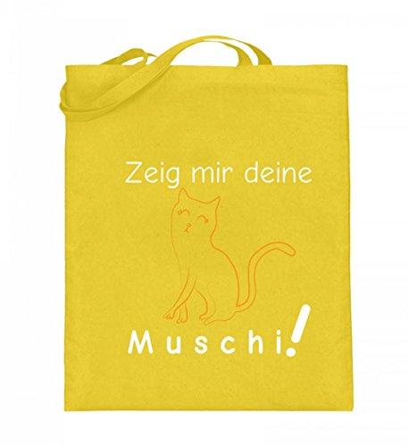 Zeig mir deine Muschi (Katze)   Katzenliebhaber Katzenfreunde Katzen-Freunde Geschenk - Jutebeutel (mit langen Henkeln)