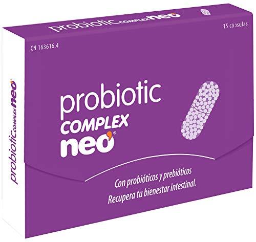 NEO - PROBIOTIC COMPLEX 15 Cápsulas con Probióticos y Prebióticos   Contribuye a la Flora y Bienestar Intestinal   Sin Derivados Lácteos   9 cepas probióticas (MEGAFLORA 9) - 1 Comprimido al día