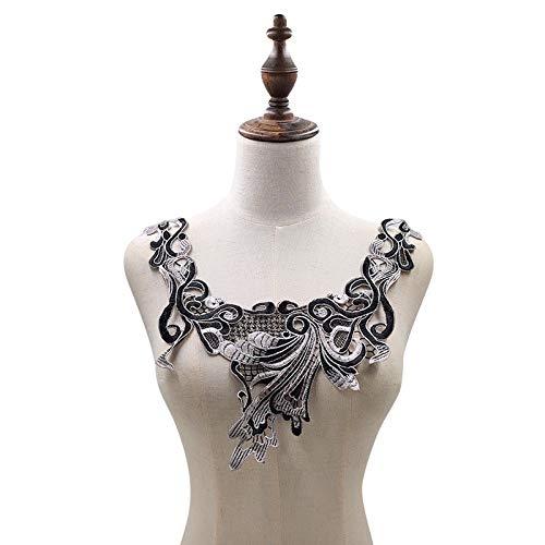Gxbld-yy Exquisite Silber-Schwarz-Stickerei Guipure Sew-Flecken-Blumen-Blumenspitzenkragen Bust Kleid Abzeichen Abendkleid DIY Handwerk (Farbe : Silver Black)