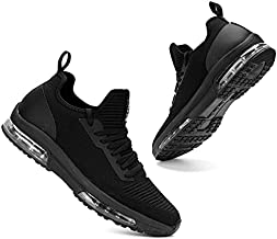 Double Cushion Sneakers for Stylish Women Arch Support Work Shoes Tennis Shoes (All Black, 8.5)
