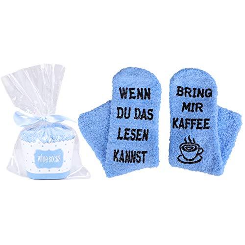 Heflashor Lustige Socken Witzige Socken mit Geschenkbox für Herr Frau Freundin Spruch Wenn Du Das Lesen Kannst Bring mir Bier/Kaffee/Wein Lustige Geschenk