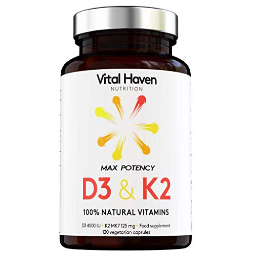 100% Natural - Vitamin D & K (D3 & K2) - Vegetarian - High Strength (D3 4000 IU, K2 mk7 125mg) - 4-Month Supply - Premium Ingredients - for Stronger Bones and Immune System - Made in The UK