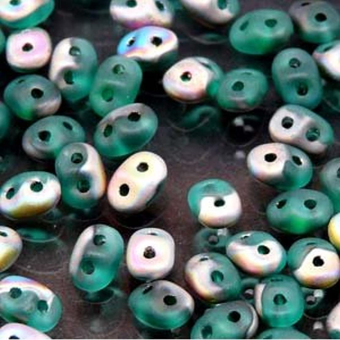 Emeral Vitrail Matte SuperDuo Czech Two Hole Seed Beads 2.5x5mm Approx 20 Grams