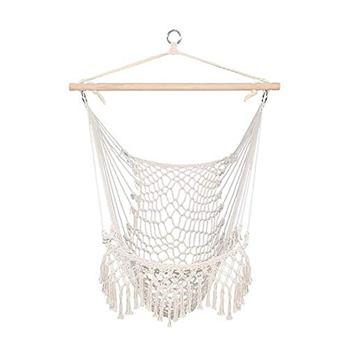 MYDENIMSKY Cotton Hanging Rope Chair with Tassel Beige Rope Sling Air Sky Chair Outdoor