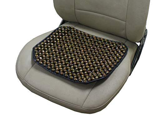 "ObboMed SW-7100 Portable Buttdy Wooden Beaded Ultra Comfort Massaging Air Ventilation Seat Cover, Removable Velour Cover, Suitable for Travel, Trip, Flight, Car, Grey - 16.7"" x 14.0"" / 42.5 x 35.5 cm"