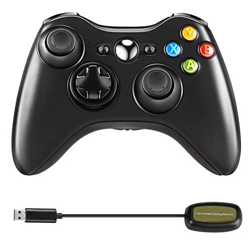 Maxjaa Controlador inalámbrico 2.4G Gamepad de Doble vibración con Receptor y Joystick Mejorado, Controlador inalámbrico de Juegos Xbox 360 para Xbox 360 Slim PC Windows 7, 8, 10
