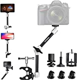 Fantaseal - Supporto regolabile da 11 pollici per fotocamera DSLR/sistema/cellulare/videocamera/flash a LED/luce video, con cuscinetto a sfera per GoPro iPhone