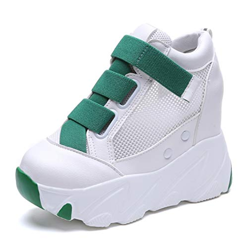 Dames Platform Sneakers Zomer Ademende Sleehakken Met Hak Casual Schoenen Mode 11 Cm Dikke Zool Stevige Sneakers Voor Wandelen