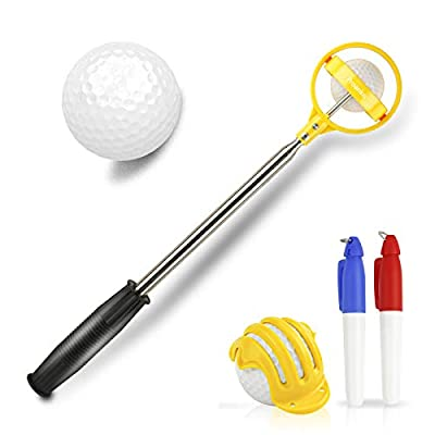 Proanko Golf Ball Retriever, Stainless Telescopic Extendable Golf Ball Retriever for Water w/Golf Ball Pick Up Retriever and Golf Ball Liner Alignment Tool