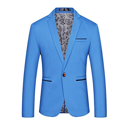 Mens Blazers Single Breasted Slim Fit pak Solid 1 Button Casual Blazer