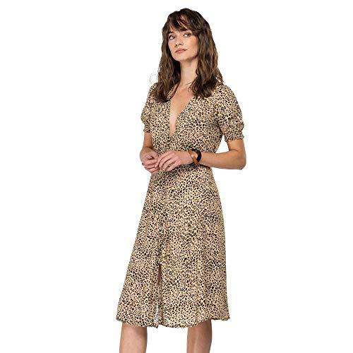 REPLAY W9678A Vestido Informal, 010 Beige/Negro, L para Mujer