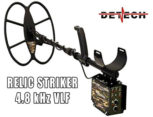 DETECH Relic Striker 4,8 kHz VLF con Bobina SEF de 18 x 15 Pulgadas, Sistema de batería Recargable, con una Caja de Dibujos Animados de Lujo incluida