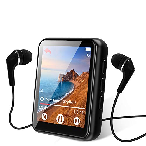 MP3 Player, Bluetooth 5.0 MP3 Players with 1.8' Full Touch Screen, 16GB HiFi Lossless Sound Music Player, FM Radio, Built-in Speaker, Voice Recorder, E-book, Pedometer, Support up to 128GB