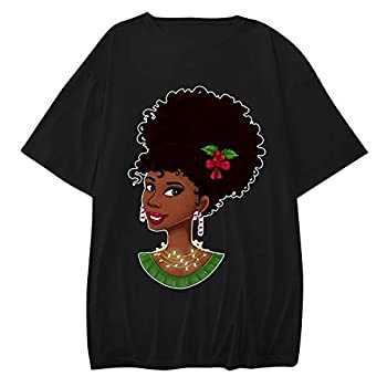 Womens T-Shirts Short Sleeve Graphic Tees African American Black Girl T-Shirt Afro Black History Month T-Shirt Tops