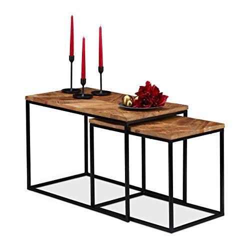 Relaxdays Couchtisch 2er Set, Mangoholz Platte, rechteckig, Eisen Gestell, H x B x T: 50 x 77 x 43,5 cm, Natur/schwarz