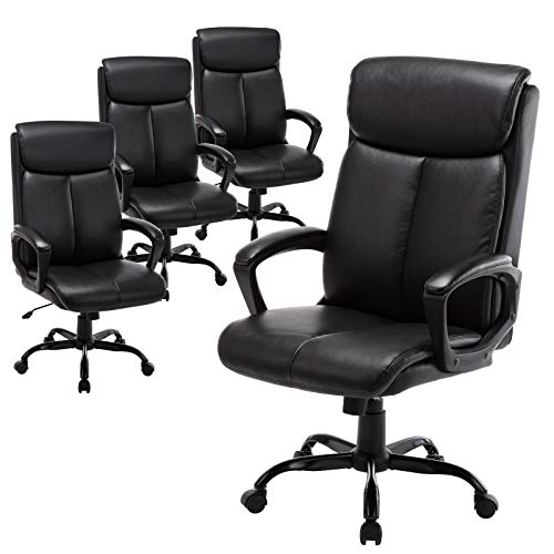 Qwork High Back Office Chair - Executive Bonded Leather Computer Desk Swivel Task Chair W/Rocking Function (Black-4 Piece)