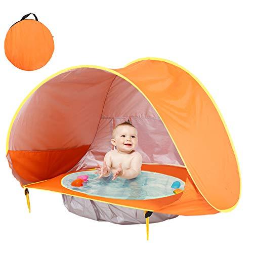 Pop up Baby Beach Tält Bärbart UV-skydd Solskydd Utomhus Beach Shade Perfect Shelters med automatisk vikbar babypool för spädbarn inomhus, semester, trädgård och park,Orange