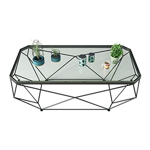 Mesa de Café Mesa de Salón Mesa de centro moderna Mesa industrial de metal de metal Mesa de cóctel de vidrio templado, uso de oficina para dormitorio mesa de almacenamiento de decoración Mesas Lateral