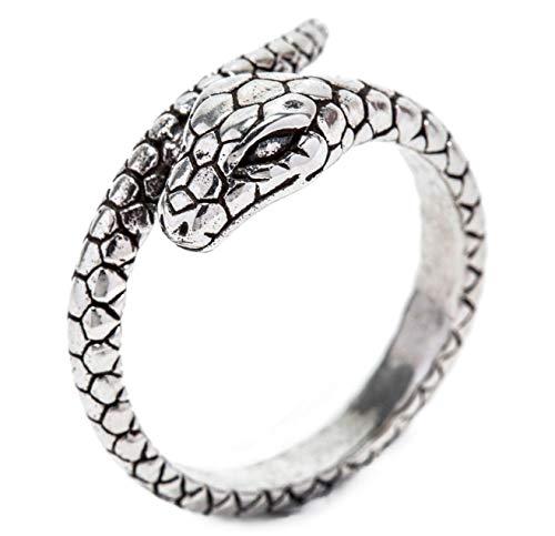 Windalf Zauber Ring BUARA h: 1.1 cm Schlange Midgards Antik Hochwertiges Silber (Silber, 58 (18.5))