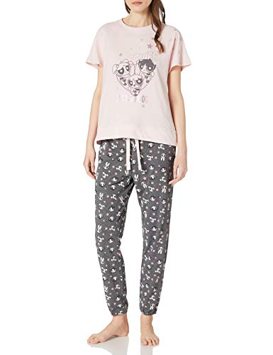 Women' Secret Pijama Largo Manga Corta Supernenas, Rosa, S para Mujer