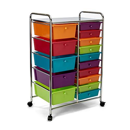 Seville Classics 15-Drawer Multipurpose Mobile Rolling Utility Storage Organizer Cart, Mulitcolor (Pearlized)