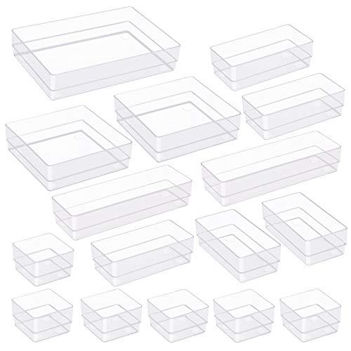 TrendGate 16 Stücke Getrennte Schublade Organizer Ordnungssystem, Aufbewahrungsboxen Stoffkasten Schubladeneinsatz Make-up Organizer 5 Größen für Kosmetik Schminktisch Schreibtisch Büro Küche