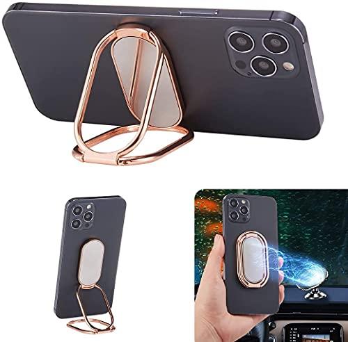 Domxteck Soporte de Anillo de Dedo Universal con rotación de 360 Grados Agarre de Anillo súper Delgado para Montaje magnético en automóvil, Todos los teléfonos y tabletas. (Rosa Oro)