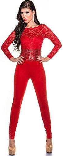 KouCla overall met lange mouwen met kant en pailletten - elegante jumpsuit eendelig in verschillende Kleuren maat S, M, L (V184521) (S, rood)