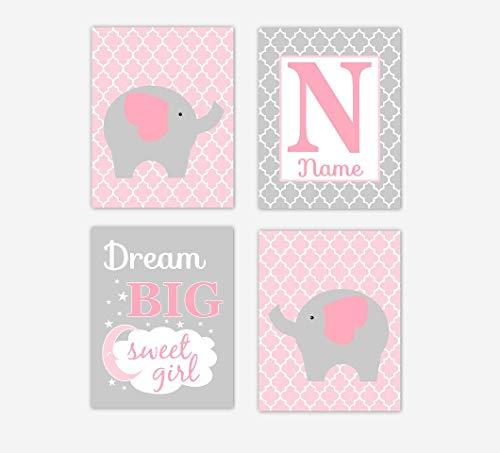 Leoner22art Décoration Murale pour Chambre d'enfant Motif éléphant Rose Jungle Safari Dream Big Sweet Girl Elephant Print Baby Nursery Decor Shower Cadeau de Douche 20,3 x 25,4 cm