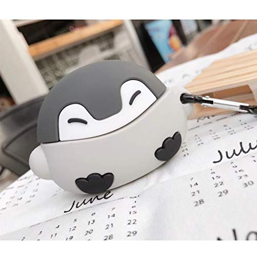 ONGHSD for Airpods Pro Gray Penguin Case Shockproof Silicone Protective Case for Airpod Pro Case with Keychain Cute 3D Cartoon Animal Protector Skin for Airpods Pro Cover Charging Case Protection
