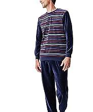 Damart Pyjama Pijama, Azul (Marine Rayé 08133), Medium para Hombre