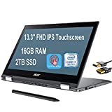 """Premium 2021 Acer Spin 5 13 2 in 1 Laptop 13.3""""FHD IPS Touchscreen 8th Gen Intel Quad-Core i7-8565U up to 4.60 GHz 16GB DDR4 2TB SSD WiFi Webcam Stylus Pen USB-C Win 10 Pro + iCarp HDMI Cable"""