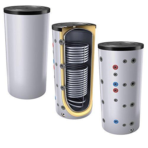 400L Pufferspeicher/Heizungsspeicher - Warmwasserspeicher für Heizungswasser, mit 2 Wärmetauschern (auch als Solarspeicher geeignet), inkl. Isolierung. Für Trinkwasser siehe emaillierte EWS8B Reihe