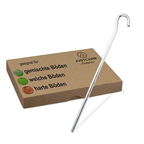 JUSTCAMP Zeltheringe Fresno, Erdnägel, Heringe - Rund, Stahl, verzinkt - 18 cm [12 Stück]