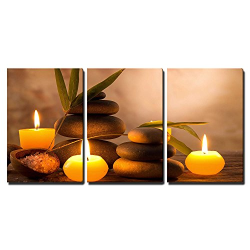 wall26 3 Piece Canvas Wall Art - Spa Still Life with Aromatic Candles and Zen Stones - Modern Home Art Stretched and Framed Ready to Hang - 16'x24'x3 Panels