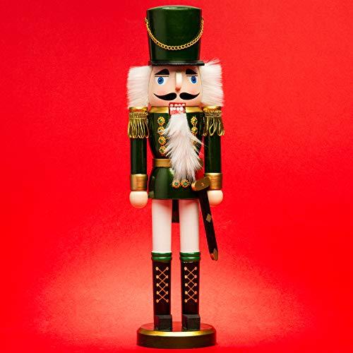 SIKORA NK-I Deko Nussknacker Figur aus Holz Verschiedene Motive 3 Größen, Größe:Höhe ca. 38 cm, Farbe/Modell:Soldat grün Weiss