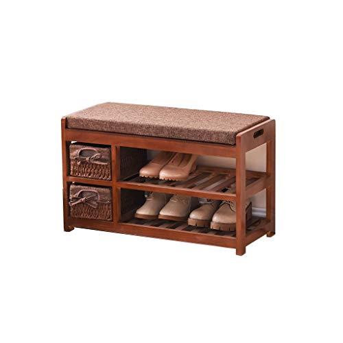 DXX-HR Instalación gratuita de multi-funcional zapatero de heces, de 2 capas de madera sólida del zapato Gabinete, acolchado banco de calzado transpirable hueco del reposapiés, ligero muebles con gave