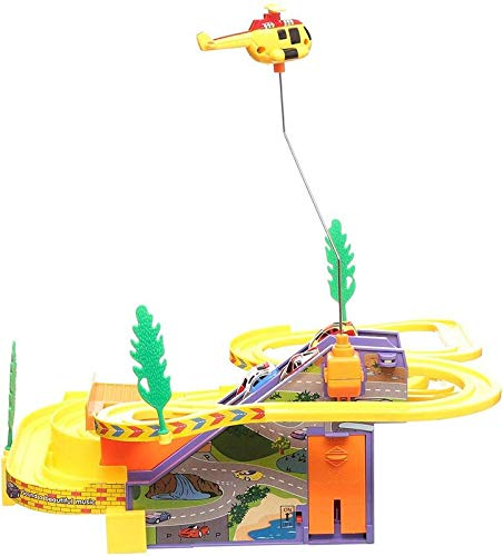 Heckle n Jeckles Kids Track Racer Racing Car Set with Helicopter, Battery Operated Musical Game for Kids