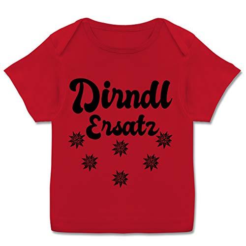 Oktoberfest Baby - Dirndl Ersatz mit Edelweiß - schwarz - 68-74 - Rot - Baby Oktoberfest mädchen - E110B - Kurzarm Baby-Shirt für Jungen und Mädchen