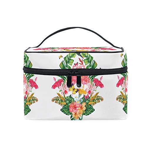 Emoya Trousse de toilette avec poignée Motif flamants roses et fleurs tropicales