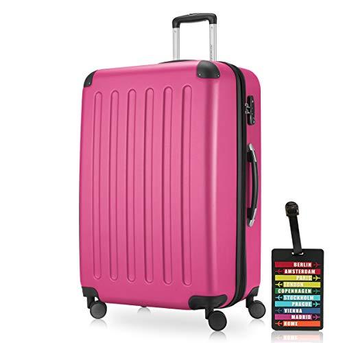 Hauptstadtkoffer - Spree Hartschalen-Koffer-XL Koffer Trolley Rollkoffer Reisekoffer Erweiterbar, 4 Rollen, TSA, 75 cm, 119 Liter, Pink inkl. Design Kofferanhänger