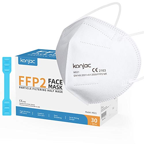 konjac Mascarillas FFP2 homologadas CE 2163 (30 unidades) Cinco capas Mascarillas Faciales Según Norma Europea EN 149:2001+A1:2009. embolsadas individualmente,con Salvaorejas.