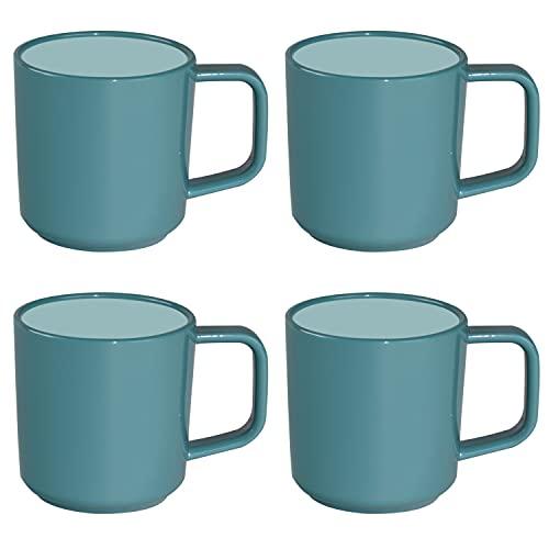 ABS Tassenset Non-Slip Elegante Farben 4 Tassen á 350 ml - grün blau Campinggeschirr Geschirr Personen Picknick Camping Outdoor